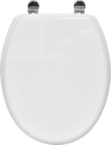 Elongated Toilet Seat Wood PINKY with Zinc Hinges Adjustable Designed Oval