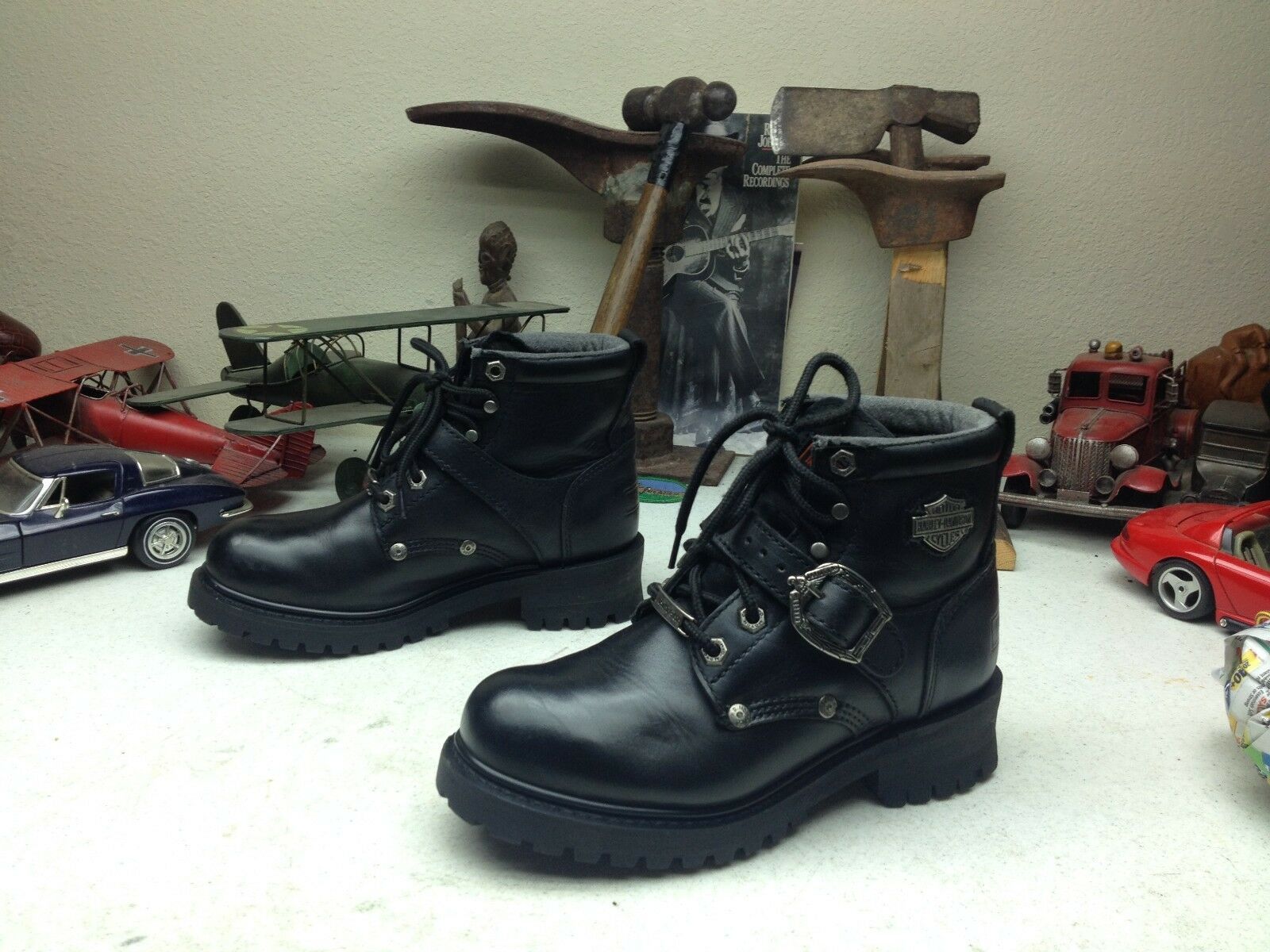 HARLEY-DAVIDSON BLACK LEATHER ZIP UP LACE STRAP BUCKLE MOTORCYCLE BOOTS 6 B