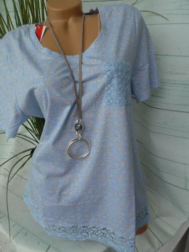 mit Spitze NEU Sheego Shirt Gr 40//42-48//50 blau Kurzarm 230