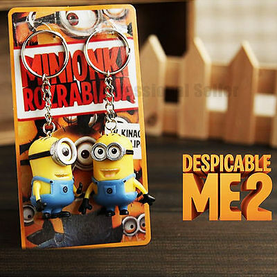 2Pcs/1 Set Despicable Me Minions Movie Figures Rubber Keyring Key Ring Chain