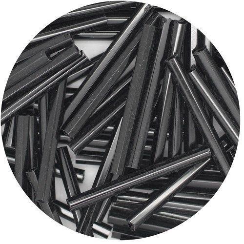 Czech Glass Bugle Beads 25mm Black 1 inch