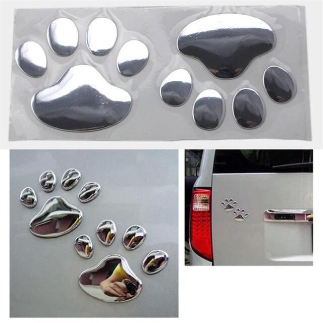 Silver Bear Paw Pet Animal Footprints Emblem Car Truck Decor 3D Sticker Decal