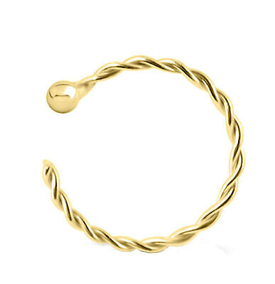Nose Ring 14K Carat Genuine Yellow Gold Lip Earring Chin Hoop 22g 8mm