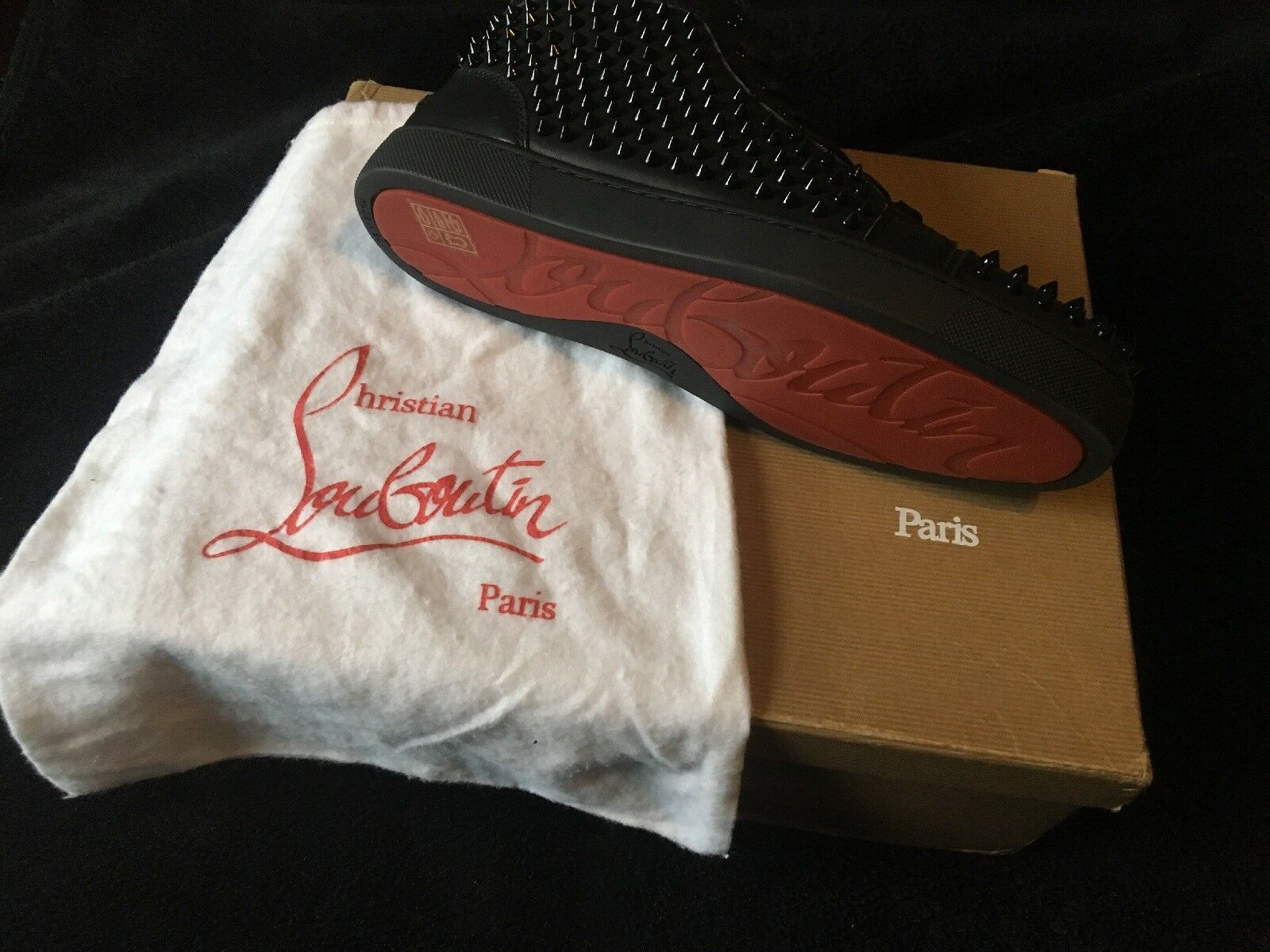 Christian Louboutin Mens Spikes High Top Trainers Black - Size 8 EU 42
