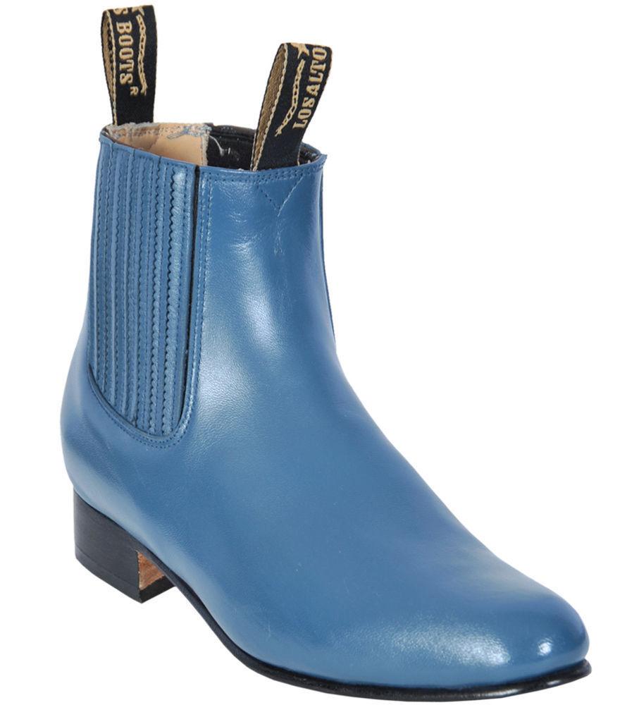 Men's Los Altos JEAN blueE Genuine Deer Ankle Boots Charro Leather Outsole EE