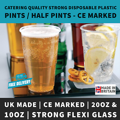 1000 or 2000 Plastic Flexi Pint /& Half Pint Disposable Beer Glasses CE Marked