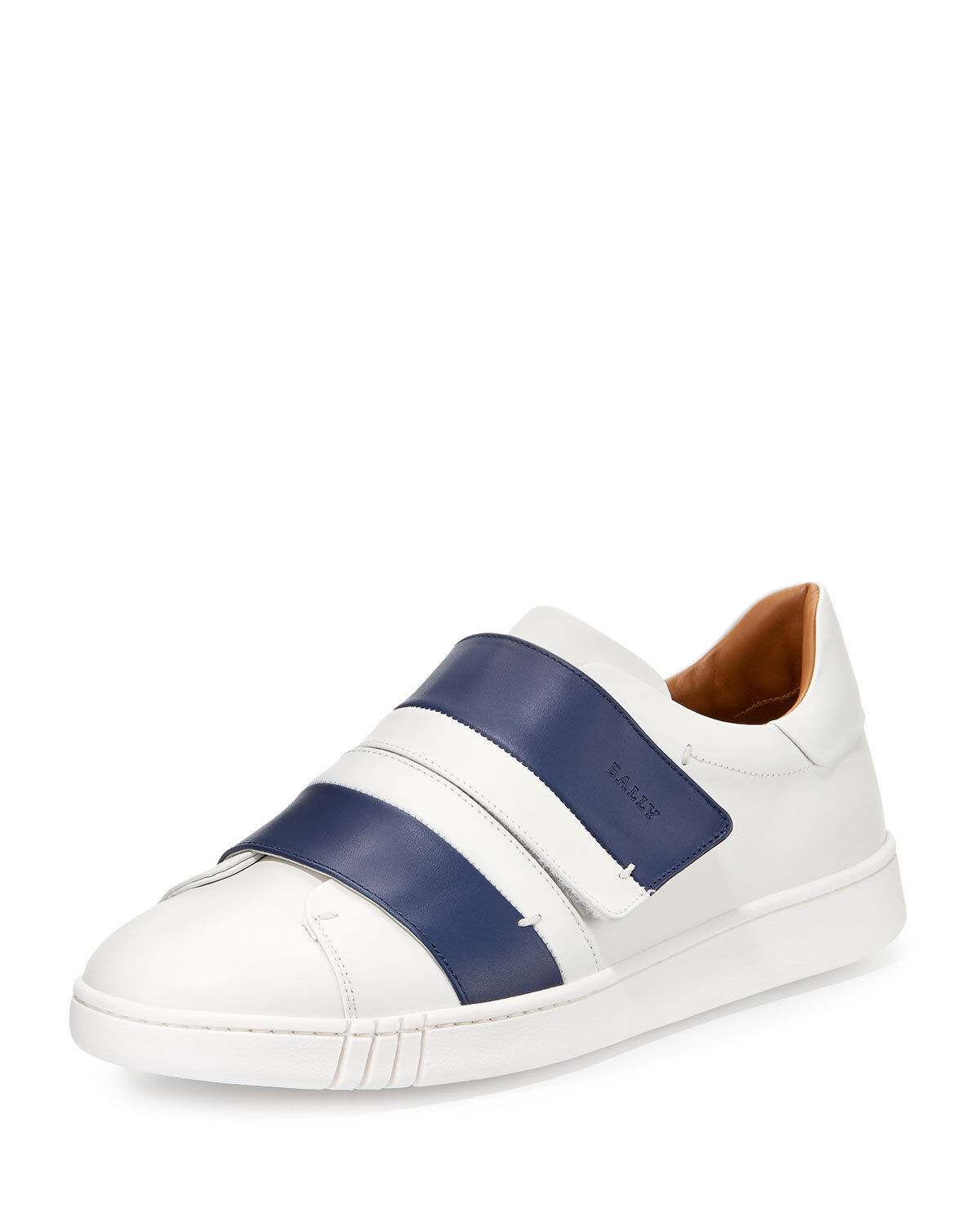 NIB BALLY WILLET WHITE blueE LEATHER LOGO SWISS SNEAKERS 12.5 US 45.5 ITALY