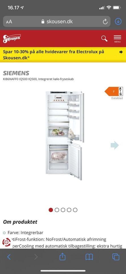 Køle/fryseskab, Siemens KI86NAFF0, 187 liter