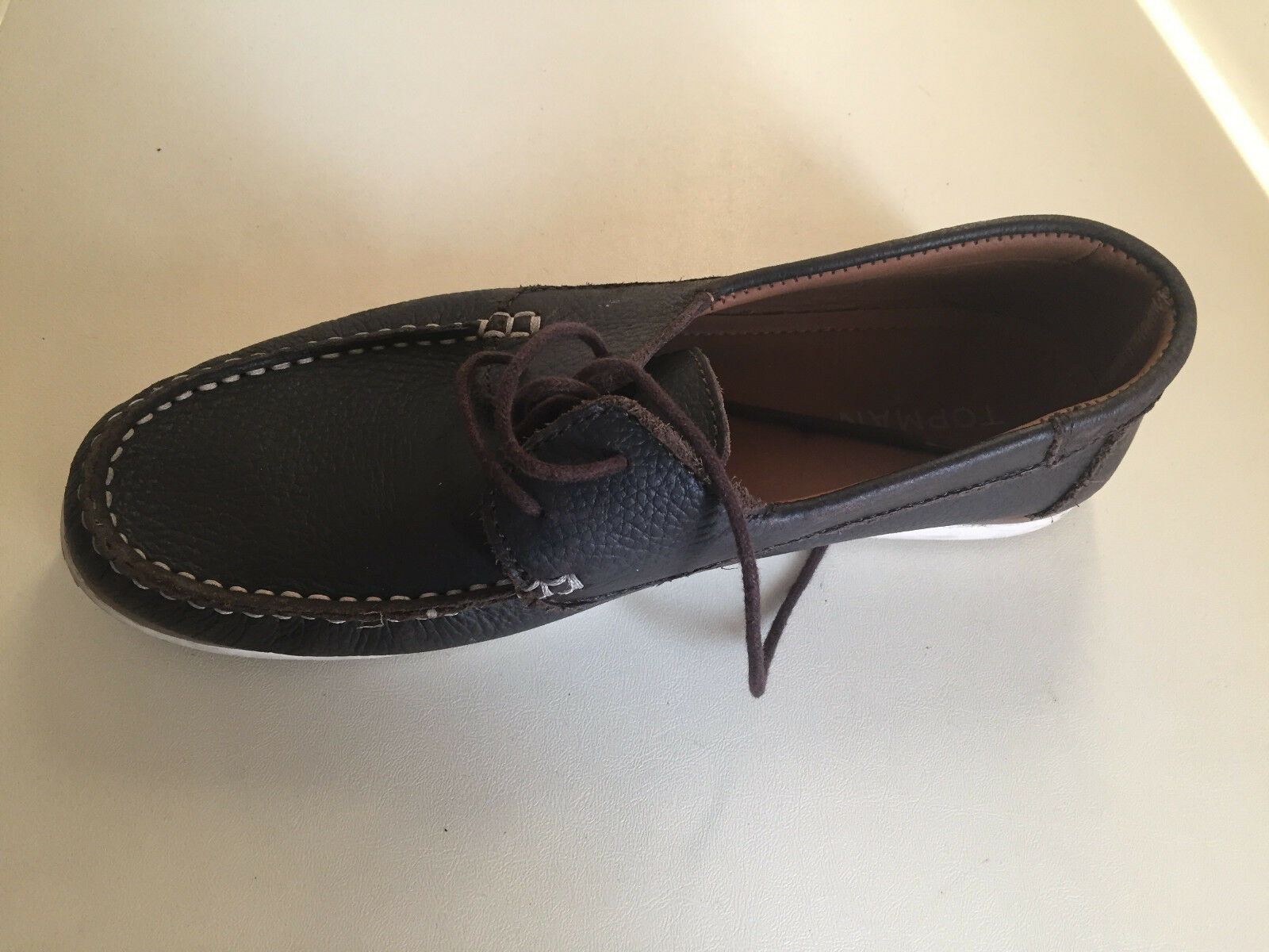 Mens TopMan Brown Leather Loafer shoes Size 41