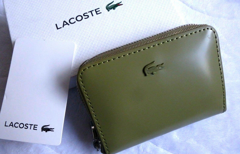 Genuine LACOSTE Glazed Leather Aloe Khaki ZIPPED COIN POUCH Purse IN BOX L5