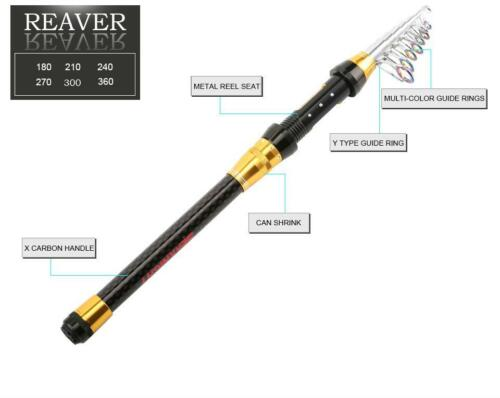 Fishing Rod Portable Telescopic Spinning Pole Travel Carbon Fiber Sea Tackle New