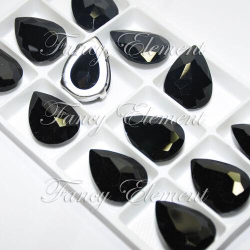 12 Strass 4320 18x25mm Negro Azabache cose en Metalizado Cristal En Forma De Lágrima De Piedra