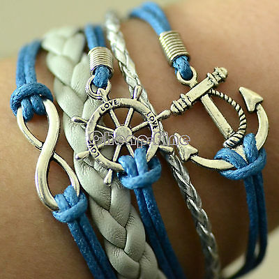 Handmade Infinity anchor Rudder antique silver pendant blue whit silver bracelet