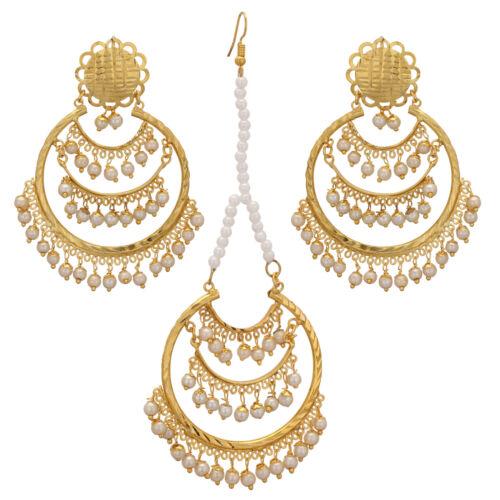 Jwellmart Indio Boda Chapado en Oro Perlas de Imitación Estilo jadau pendiente Tikka Set