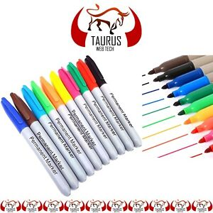Permanent-Markers-10-Pens-Pack-Assorted-Multi-Colour-Sharpe-Fine-Point-Tip-UK