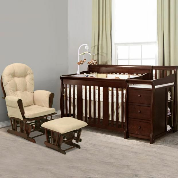 4 In 1 Convertible Crib Baby Nursery Changing Table 3 Drawers Fixed Side Toddler Ebay