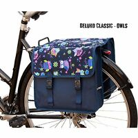 Bicycle Double Pannier Bag Water Resistant Cycle Back Bike Design Blue Owls