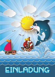 Das Bild Wird Geladen Einladungskarten Kindergeburtstag Delfin Einladungen  Maedchen Jungen