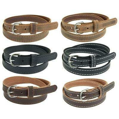 "Buffalo Leather Stitched Belt/_1 1//4/""/_Nickel Finish Buckle/_Amish Handmade"