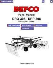 Befco Dro 308 Drp 308 Hay Windrower Rake Service Parts Manual 2003