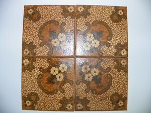 Details about Vintage Ceramic Tiles Flowers Floral Design 6x6 Brazil Brown  70s Retro set of 8