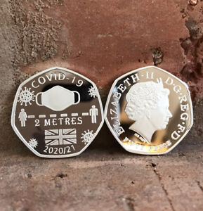 LOCKDOWN 50p COIN SURVIVED 2020'/ 21 . 999 Silver Commemorative GIFT SOUVENIR UK