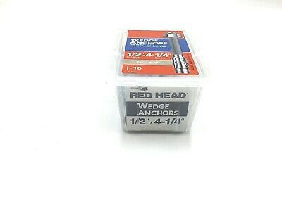 """RED HEAD 13020 BOX OF 10 1//2/"""" X 4-1//4/"""" WEDGE ANCHORS FNFP"""