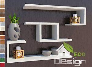 Set 3 mensole frassino bianco legno design ingresso for Mensole legno bianco