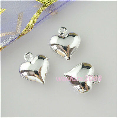40 New Charms Smooth Heart Pendants Silver Plated 11.5x13mm
