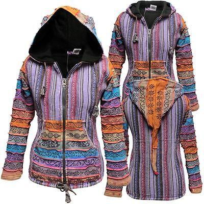 Rainbow Sleeved Fleece Lined Women Hippie Jacket Festival Gypsy Boho Goth Hoodie | eBay