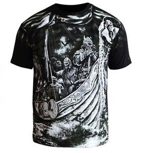 T-Shirt-Viking-Floki-Ragnar-Thor-Dobermans-Skull-Tattoo-Odin-Odyn-Warrior-Wiking