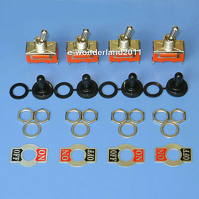 4 BBT Marine Grade On//Off 20 amp 12 volt Heavy Duty Toggle Switches w// Boots
