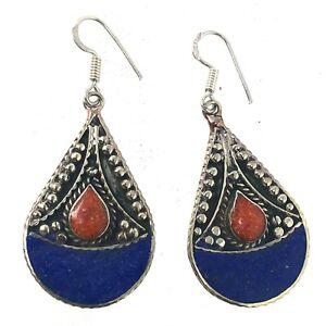 Lapis-Coral-Earring-Tibetan-Nepalese-Handmade-Ethnic-Tibet-Nepal-ER1189