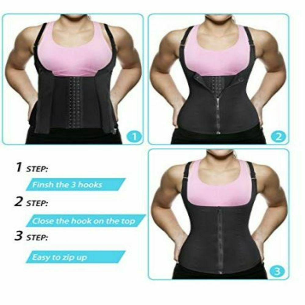 VEKDONE Women Waist Trainer Corset Zipper Vest Body Shaper Tummy Control Sport Workout Weight Loss Shaper