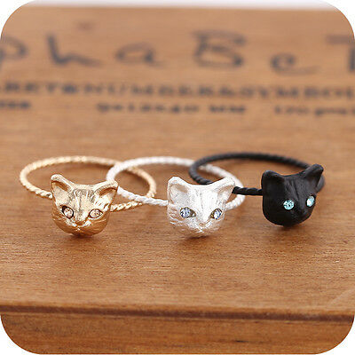 Women Mini Lovely Cute Cat Shape Rings Rhinestone Studd Ring Black Gold Silver