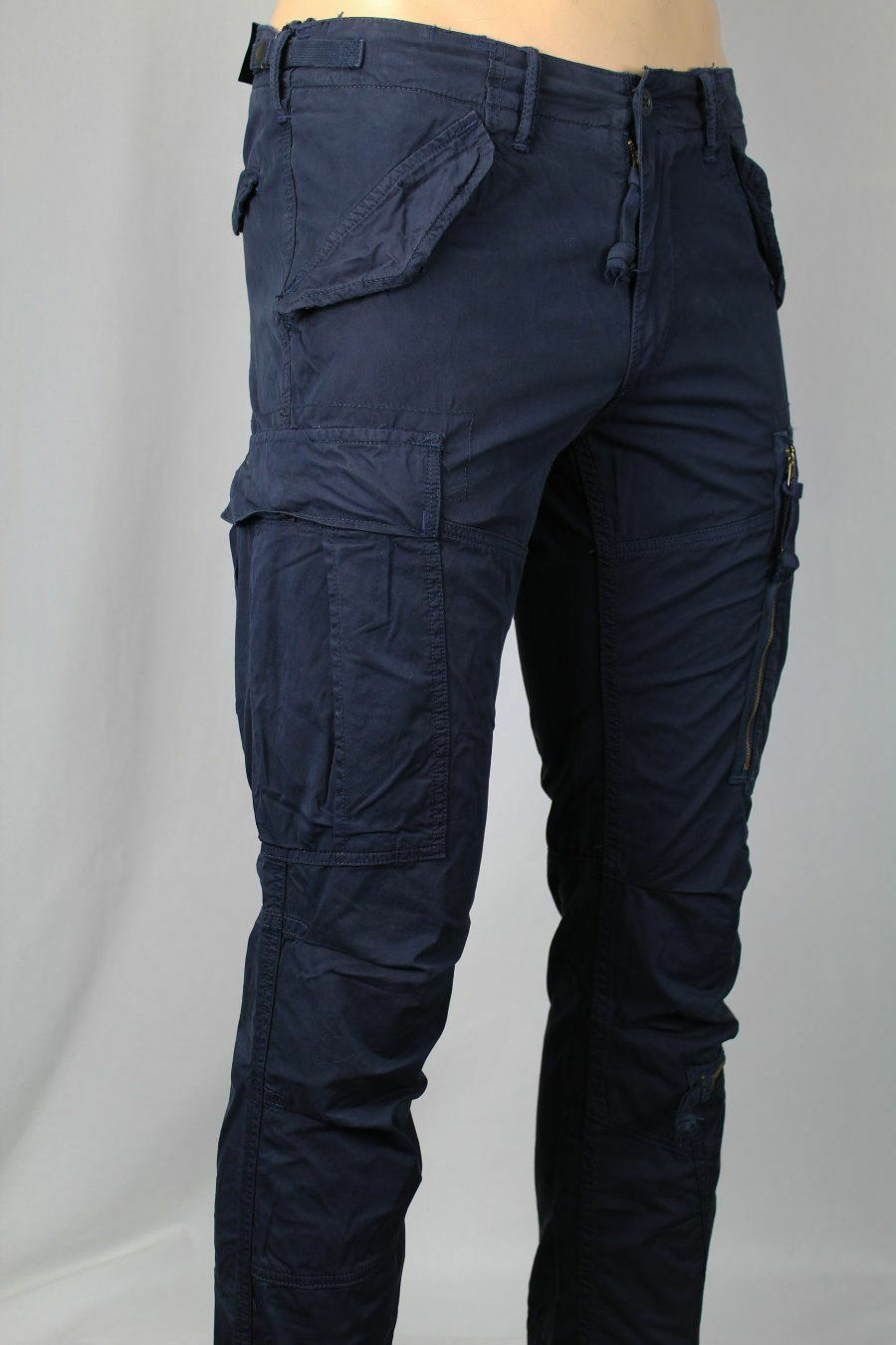 Polo Ralph Lauren Navy bluee Straight Fit Cargo Pants Snaps Zip NWT