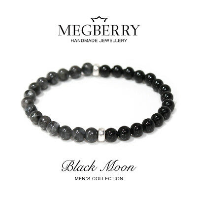 MEGBERRY® Mens Bracelet Natural Black Moonstone Onyx beads 925 Sterling Silver