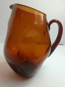 Mid-Century-Modern-Hand-Blown-Cracked-Amber-Glass-Pitcher-9-5-034-Rare