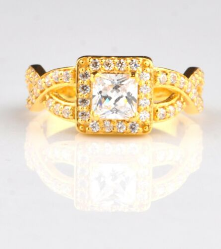 Superb Princess Cut 2.00 Carat Real 14KT Yellow Gold Solitaire Anniversary Ring