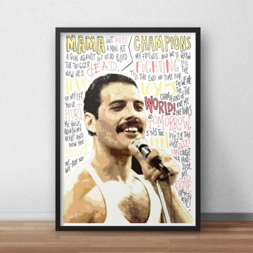 Freddie Mercury Queen INSPIRED WALL ART Print Poster A4 A3 Band Lyrics
