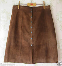 Rare! New GAP Vtg 70s Genuine Suede Leather Patchwork Popper A-Line Skirt Brown