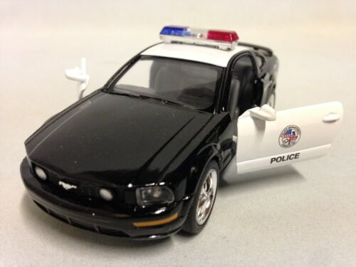 "2006 Ford Mustang GT Police 5/"" Diecast 1:38 Pull Back Kinsmart Toy Black//White"