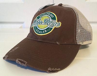 John Deere Brown Fabric Hat Cap w Tan Mesh Back and RETRO Patch