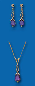 Fine Jewelry Sets Jewelry & Watches Adaptable Gold Amethyst Anhänger Und Ohrringe Satz Gelbgold Solide Punziert Pleasant To The Palate