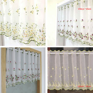 Image Is Loading Kitchen Decor Half Curtains Cafe Tiers Valance Embroidered