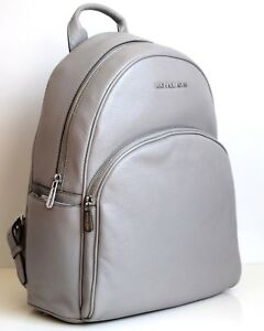 62d443e4335b53 Michael Kors Abbey Large Backpack Book Bag Pearl Grey Leather New ...