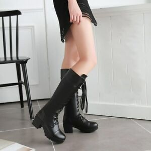 Fashion-Womens-Chunky-Heels-Lace-Up-Platform-Round-Toe-Knee-High-Boots-New-Shoes
