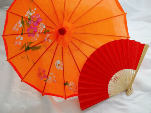 JAPANESE S ORANGE PARASOL RED PAPER HAND FAN CHINESE UMBRELLA WEDDING PARTY