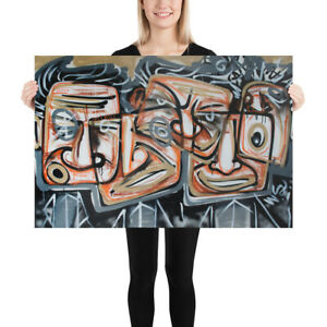 NEO-Street-Art-Graffiti-Print-of-Painting-Cubism-Poster-Wall-Pop-Spray-FACES