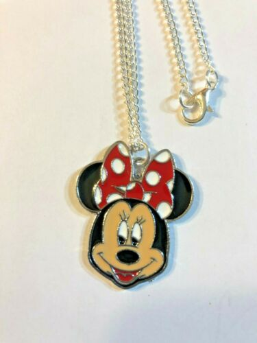 """Minnie Mouse 1.25 Inch Charm Necklace 16/"""" Silver Plated Gift Boxed,USA"""